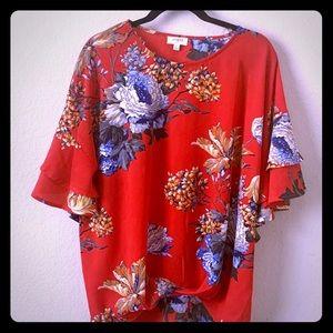 Umgee Floral Print Top Size L